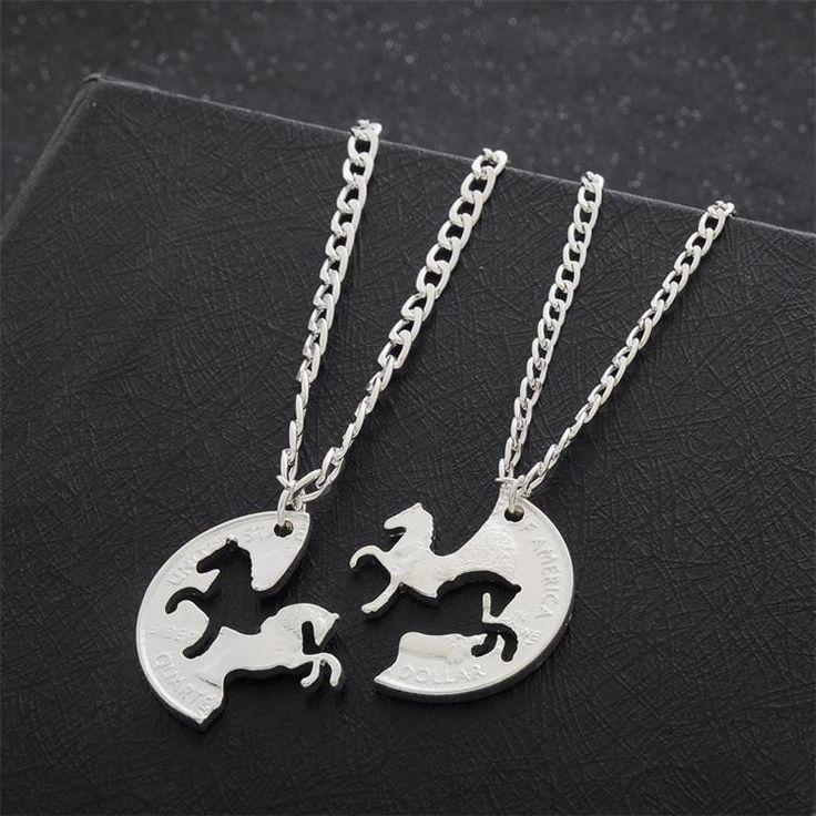 Double Horse Friendship Silver Plated Pendant Women's Necklaces - 3