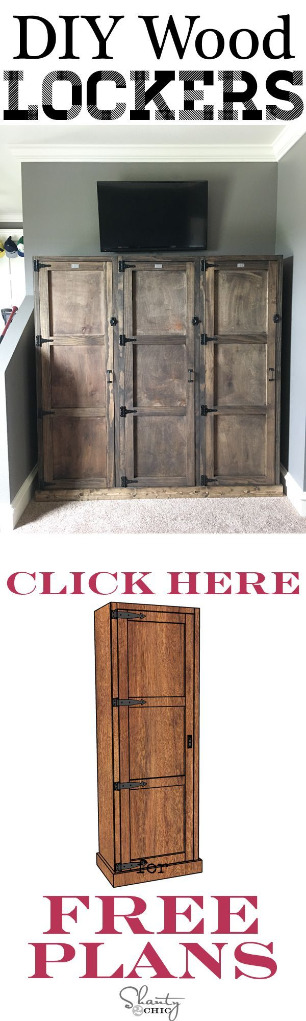 425 best furniture diy ideas images on pinterest home diy desk build you own set of wooden lockers with free plans from www shanty 2