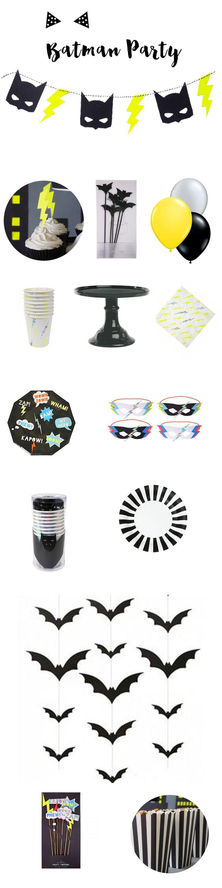 Vaisselle et accessoires déco pour sweet table d'anniversaire sur le thème de Batman à retrouver sur www.rosecaramelle.fr #batman #topper #cupcake #superhéros #batmanparty #superheroe #sweettable #fete #anniversaire #party #candybar