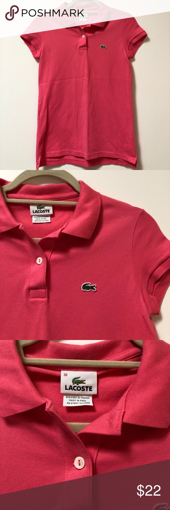 Lacoste Pink Polo size 38 (S) Lacoste Pink Polo, size 38. In excellent-like new condition !! Lacoste Tops
