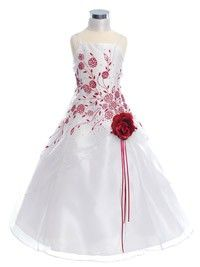 White/Red Floral Caviar Organza Flower Girl Dress (Sizes 4-18 in 6 Colors)