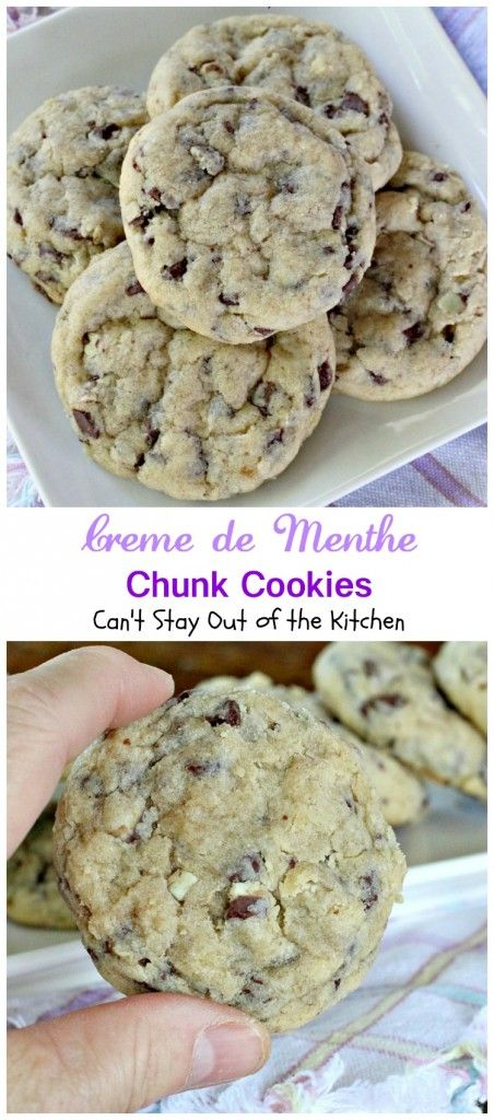 Creme de Menthe Chunk Cookies   Can't Stay Out of the Kitchen   spectacular #cookies made with #Andes #CremedeMenthe baking chips. #dessert #chocolate