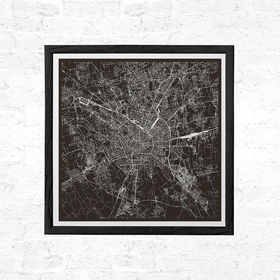 MILAN MAP Print  Modern Milano Italy Italia by EncoreDesignStudios