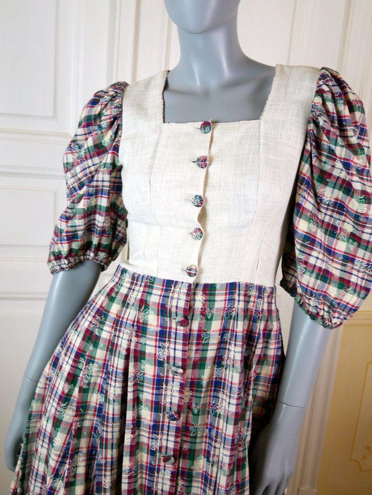 Bavarian Vintage Landhaus Dress, Scotch Plaid Traditional Milkmaid Folk Dress, Linen Cotton Handmade Trachten Dress: Size 8 US, Size 12 UK by YouLookAmazing on Etsy