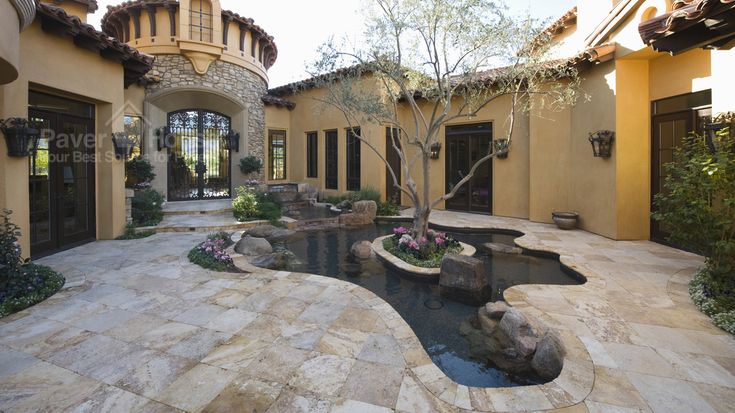 Gorgeous patio paver installation with travertine pavers. Learn more about travertine pavers and its cost at Paver House. http://www.paverhouse.com/travertine-paver-installation/