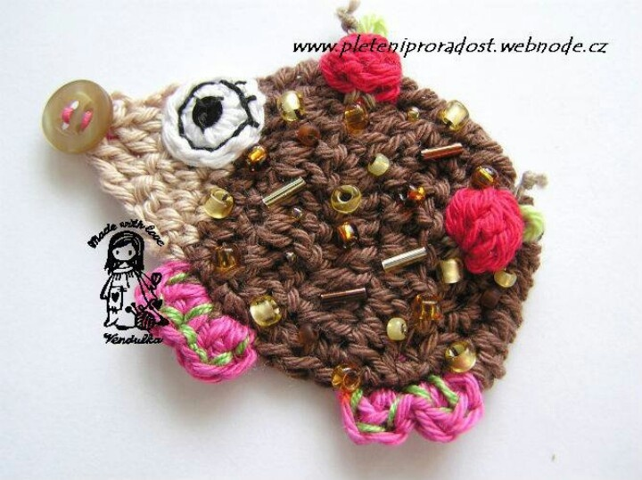 Vendula :-): Hook, Applies Hook, Sconces, Crochet Patterns, Hedgehog Appliqué, Hedgehogs, Applied Hook