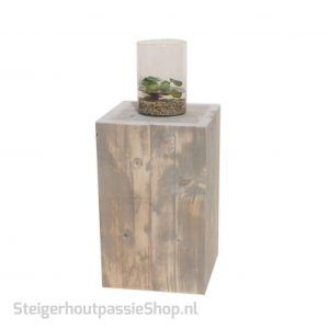 steigerhouten zuil klein met vijvervaas SP