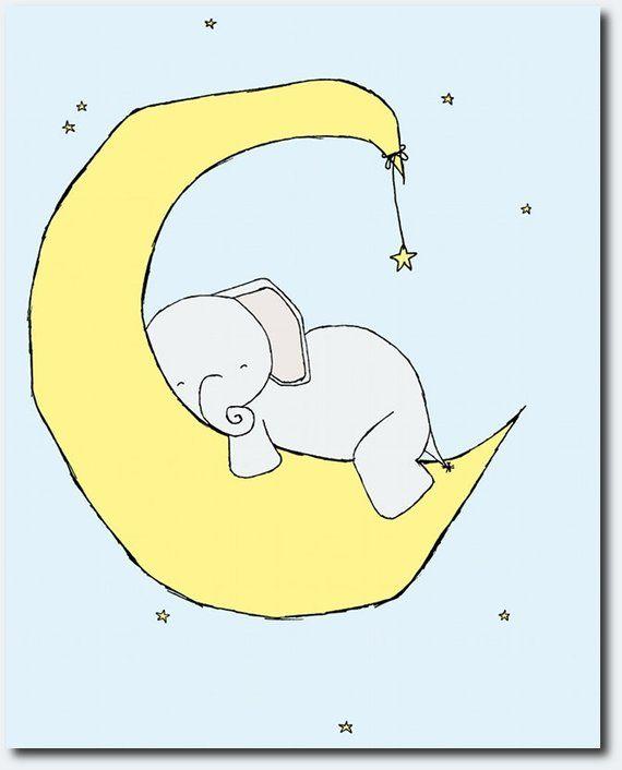 Elephant Nursery Art Yellow White And Blue Nursery Decor Set