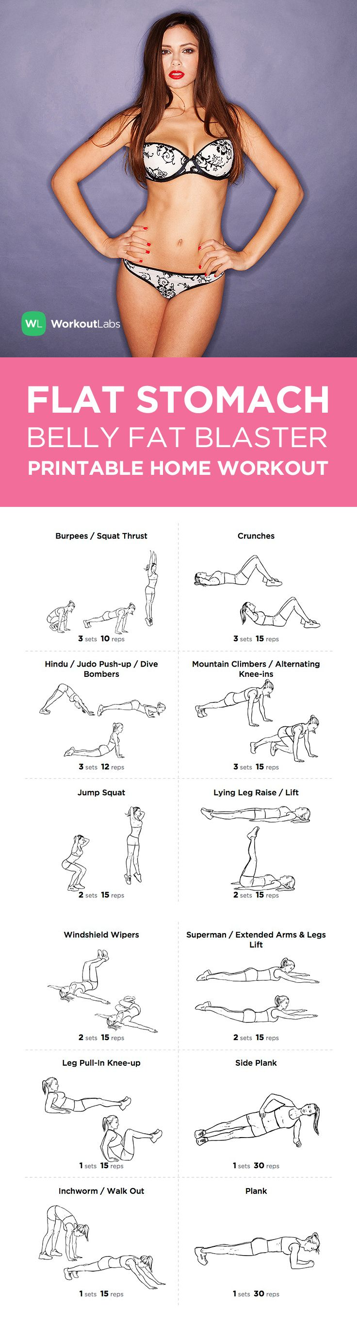 The Flat Stomach Belly Fat Blaster Printable Exercise Plan – Looking to firm and flatten your stomach for the summer months ahead? This workout will do all that and burn fat at once