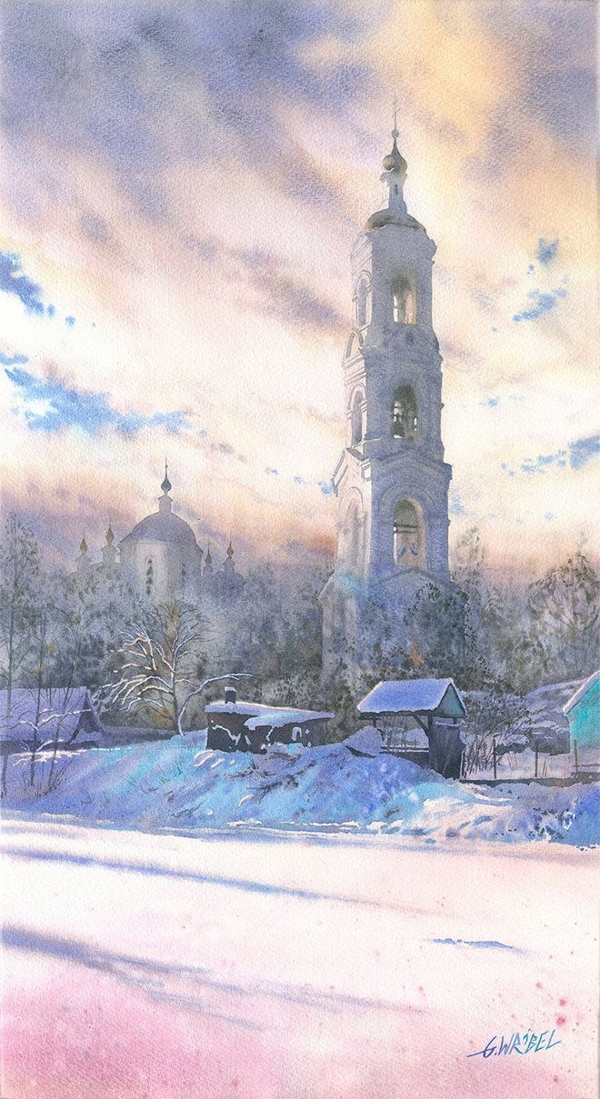 """""""Winter tower"""" - watercolor painting by Gregorz Wróbel (amazing Polish watercolor artist). #tower #winter #watercolor #watercolorarchitecture #watercolorart #painting"""