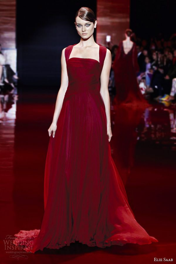 elie saab fall 2013 2014 couture draped red dress straps