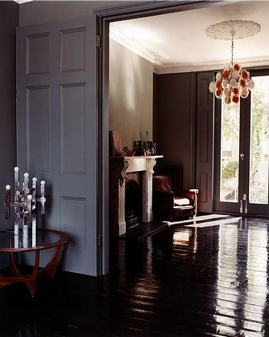 I Love The Grey Walls And Glossy Dark Floors