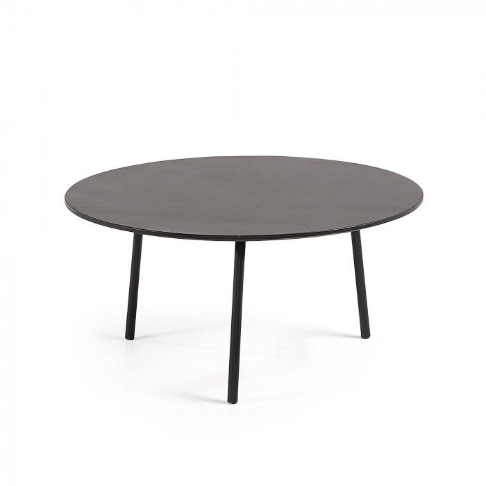 Round Coffee Table Mathis O70 Cm Poly Cement And Black Steel