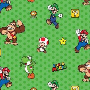 Nintendo Super Mario Characters on Green - 1/2 yard