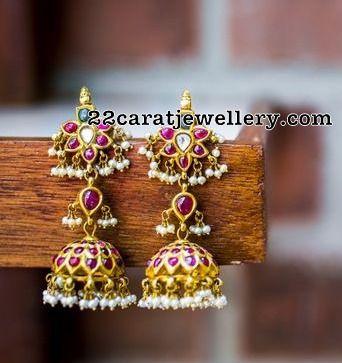 Long Ruby Peacock Jhumkas - Jewellery Designs