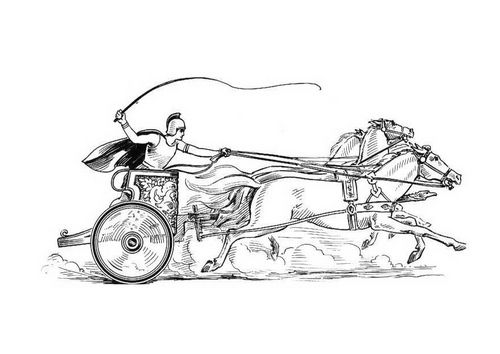 Coloring page chariot race