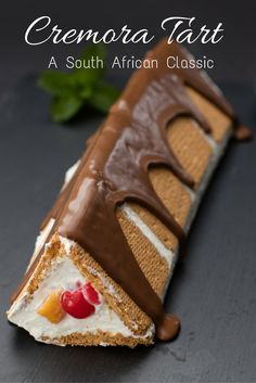 Cremora Tart Recipe from South Africa. Revisit this always popular retro South African dessert. This new version is fruity and covered in chocolate. More