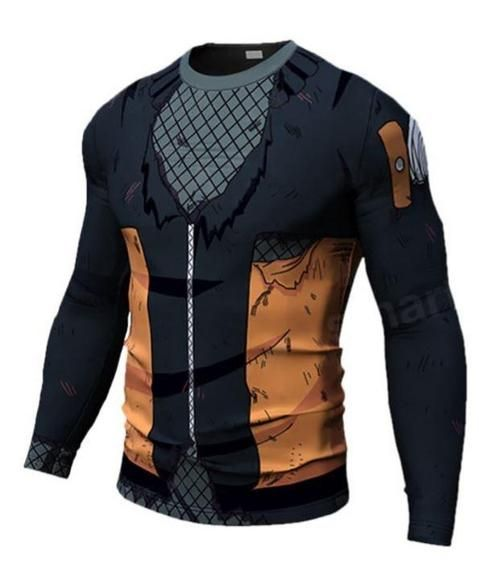 Teen Naruto Damaged 3D Costume Cosplay Compression Workout Long Sleeves T- Shirt  naruto  anime 8f3ed9c87