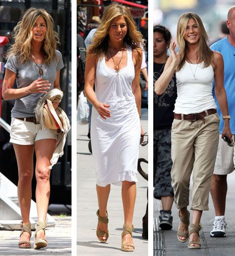 Jennifer Aniston is Cali cool perfection in Stuart Weitzman wedges.