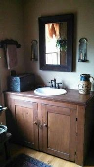 Primitive/ Colonial Interiors: Colonial Bathroom, Bathroom Vanities, Prim Bathroom, Rustic Bathroom, Upstairs Bathroom, Bathroom Sinks, Primitive Bathrooms, Bathroom Cabinets, Powder Rooms