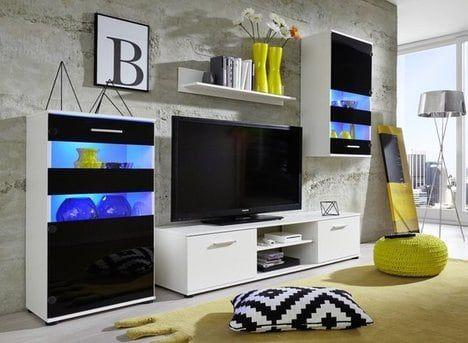 Wohnwand TTX 13   Weiß Schwarz   222 Cm Breit 4 Teilig TV