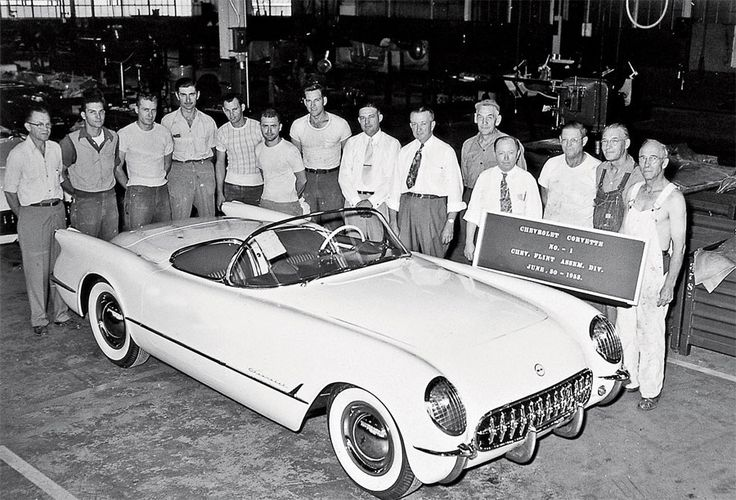 The first Corvette after it was assembled in Flint Michigan. The Corvette turns 60 years old on June 30, 2013.