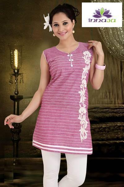 Tunika bawełniana Pudrowy róż modna i stylowa r.46