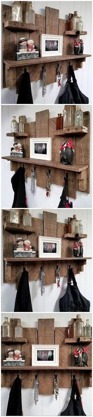 Pallets Rustic Coat Key Rack Combo Piece With Shelves
