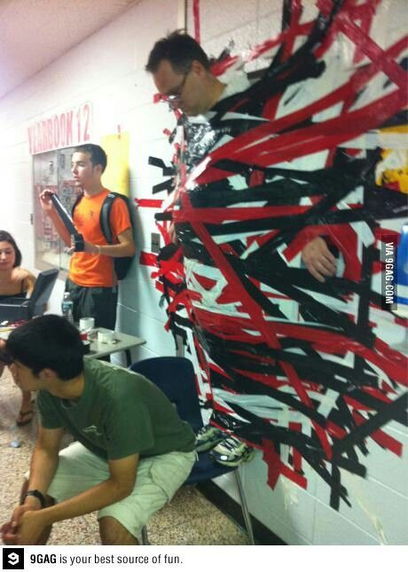 Fundraiser idea, dollar for a piece of duct tape.... This would be a great idea for youth fund raisers... Duct tape the youth pastor to a wall