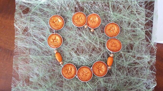 Collana e orecchini mandarino
