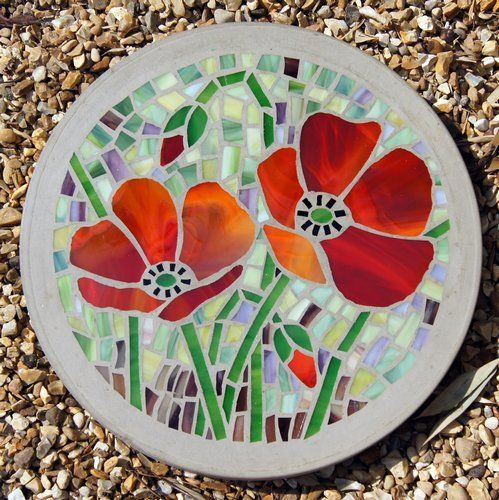 MADE TO ORDER Poppy garden feature 300mm Glass Mosaic Concrete Stepping stone £30.00