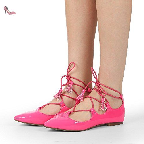 Ideal Shoes - Ballerines plates à lacets effet verni Rahia Fuchsia 40 - Chaussures ideal shoes (*Partner-Link)
