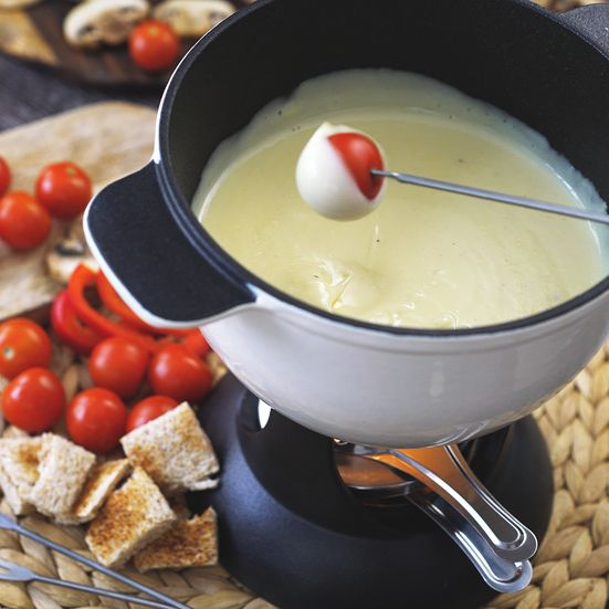 Steamed red-skinned potato chunks, grilled or toasted Tuscan bread cubes and pear slices are all great for dipping in the melted cheese. Be sure to st...