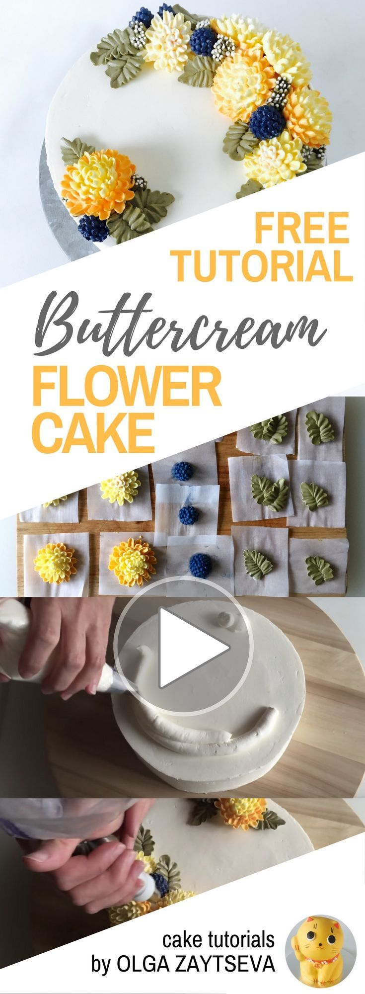 HOT CAKE TRENDS How to make Buttercream chrysanthemums and berries cake - Cake decorating tutorial by Olga Zaytseva. Learn how to make very trendy buttercream chrysanthemums, pipe berries and create this autumnal flower wreath cake. #cakedecoratingtutorials