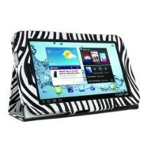 KIQ (TM) Zebra Design Portfolio Leather Case Cover for Samsung Galaxy Tab 2 7 inch Tablet P3100 with Built in Stand