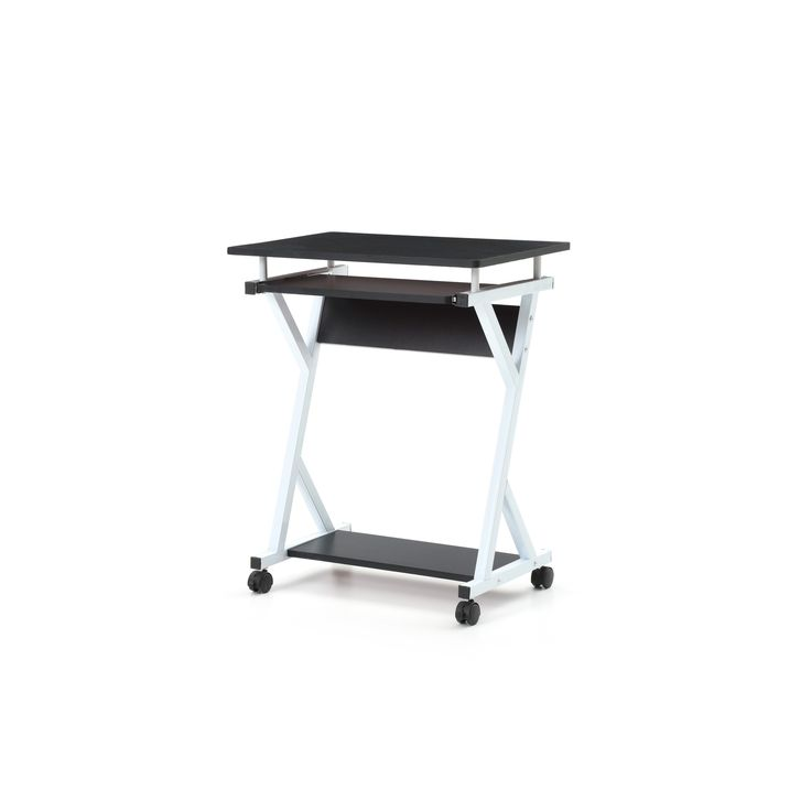 Rolling Metal Frame Wood Top Laptop Desk