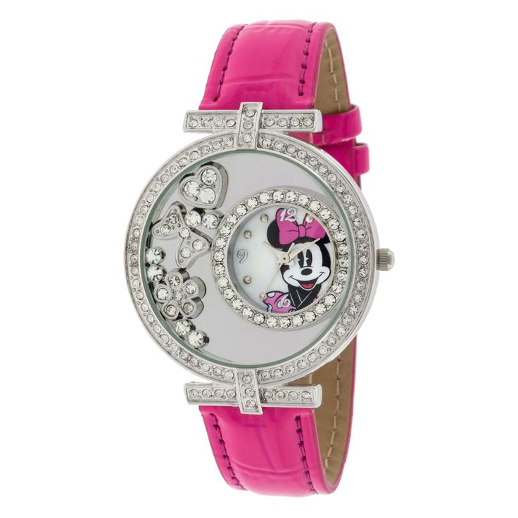 Disney Minnie Mouse Watch With Floating Stone Case and Pink Strap