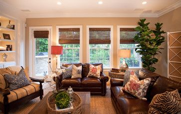 Townhouse Living Room Decor Eclectic Leather Pieces