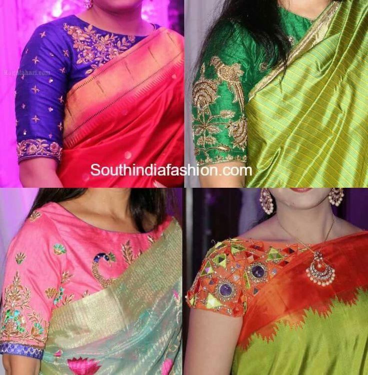 Lovd orange n green mirror work blouse
