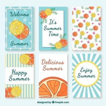 Collection de carte mignonne d'été avec des fruits