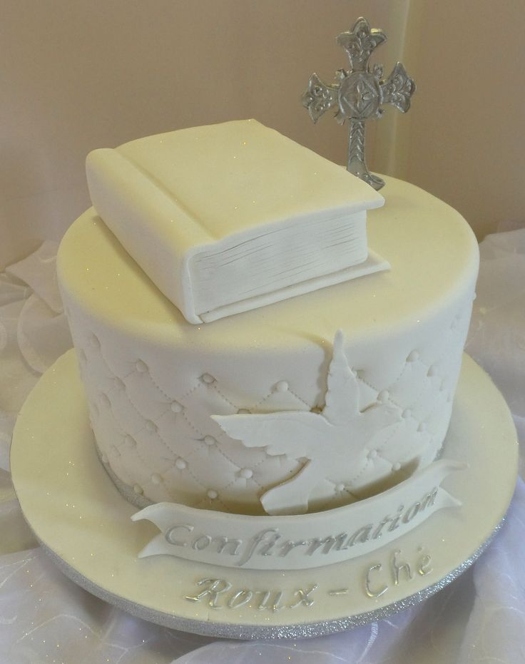 https://flic.kr/p/AYAKFe | Elegant confirmation cake with bible and cross topper