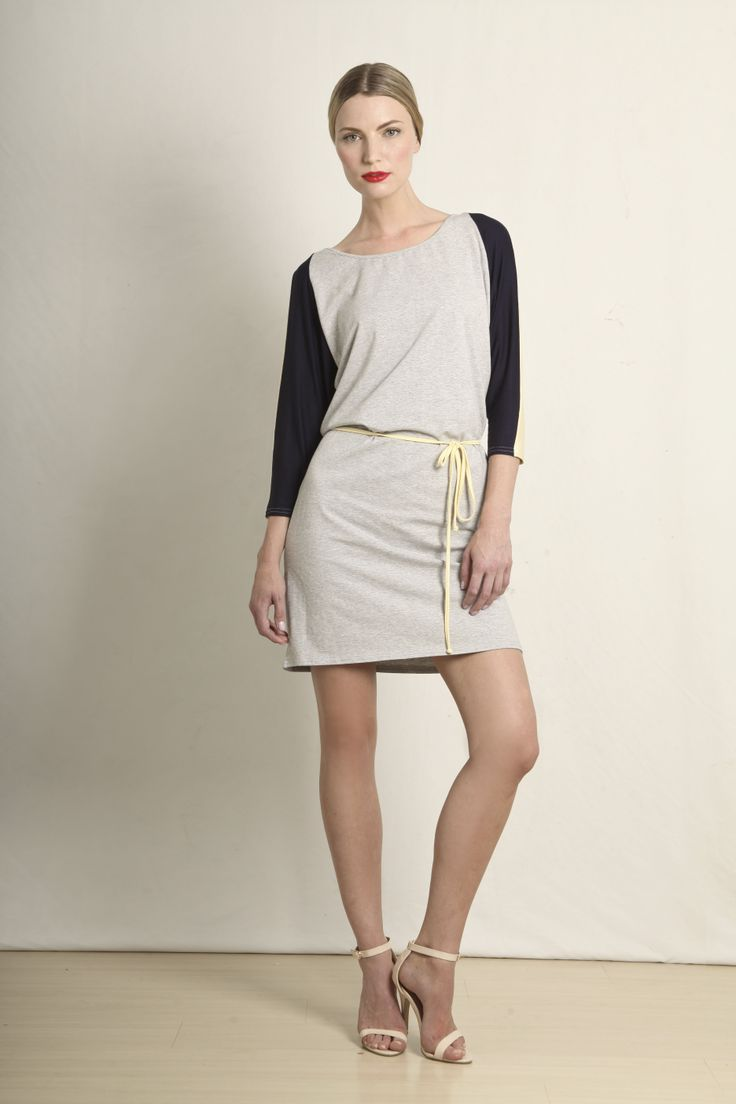Three-toned tunic dress in navy/lemon/melange grey  GB210-NYG  R420.00  www.georgieb.com
