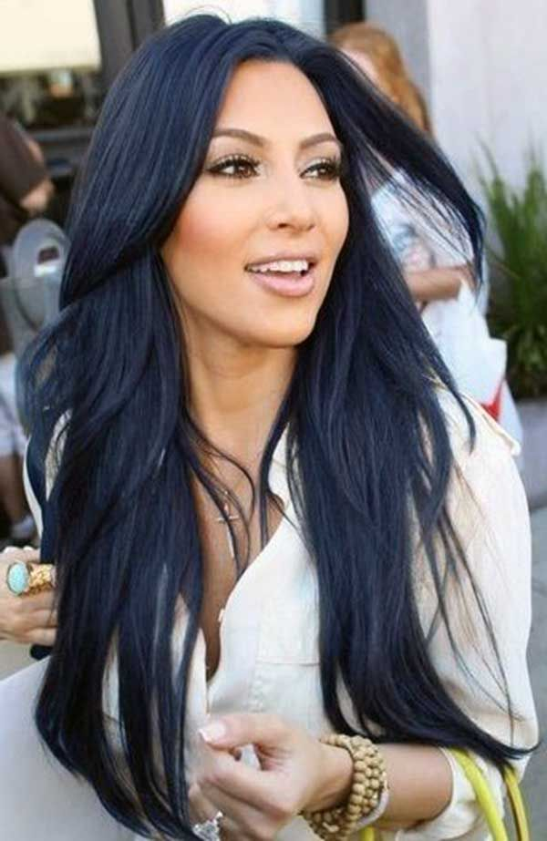 mavi siyah dalgalı saç modeli