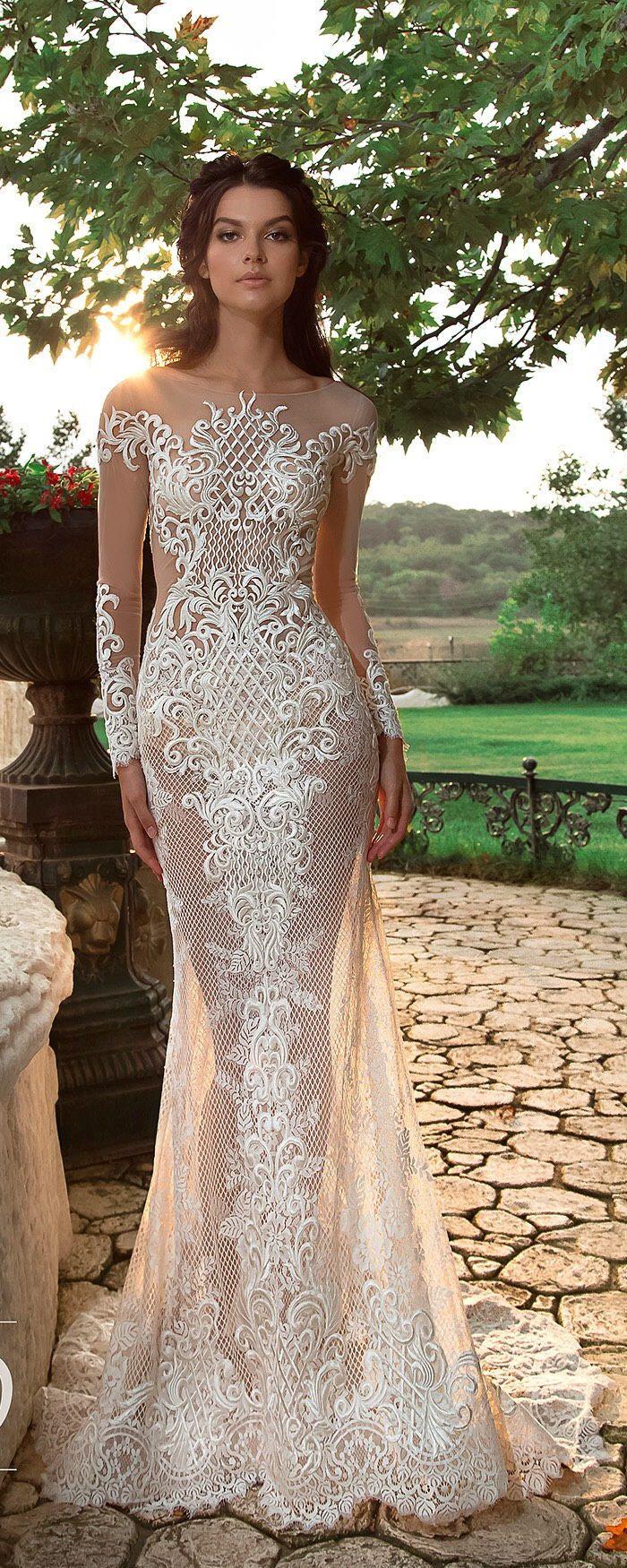 Sexy Sheath Wedding Dress Lace Mermaid Long Sleeve Bridal Gowns