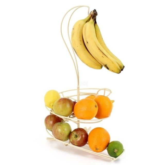 Still using a regular fruit bowl? It's time to refresh your routine with a Fruit Skelter! By topping up your Fruit Skelter from the back and taking it from the front, you'll always eat your fruit in date order. The Fruit Skelter looks magnificent in any home, creating a mouth-watering visual spectacle. Attach the removable hook to hang your bunch and not only will you save space but your bananas will ripen evenly without the danger of being bumped.