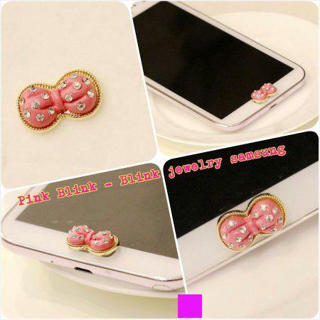 Matte Pink Bow Home Button Samsung
