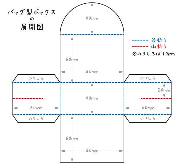 バッグ型ボックスの展開図