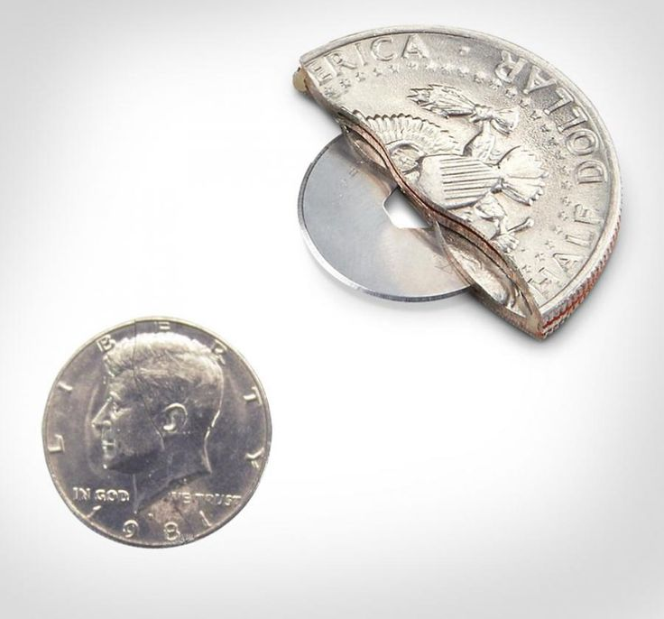 The 50 cent piece knife is a real 50 cent piece that looks extremely realistic and conceals a hidden blade inside of it. I'm not sure how much damage you can do with a rounded blade, but I'm sure you ...