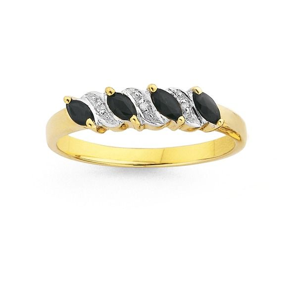 9ct Gold Sapphire & Diamond Marquise Cut Ring