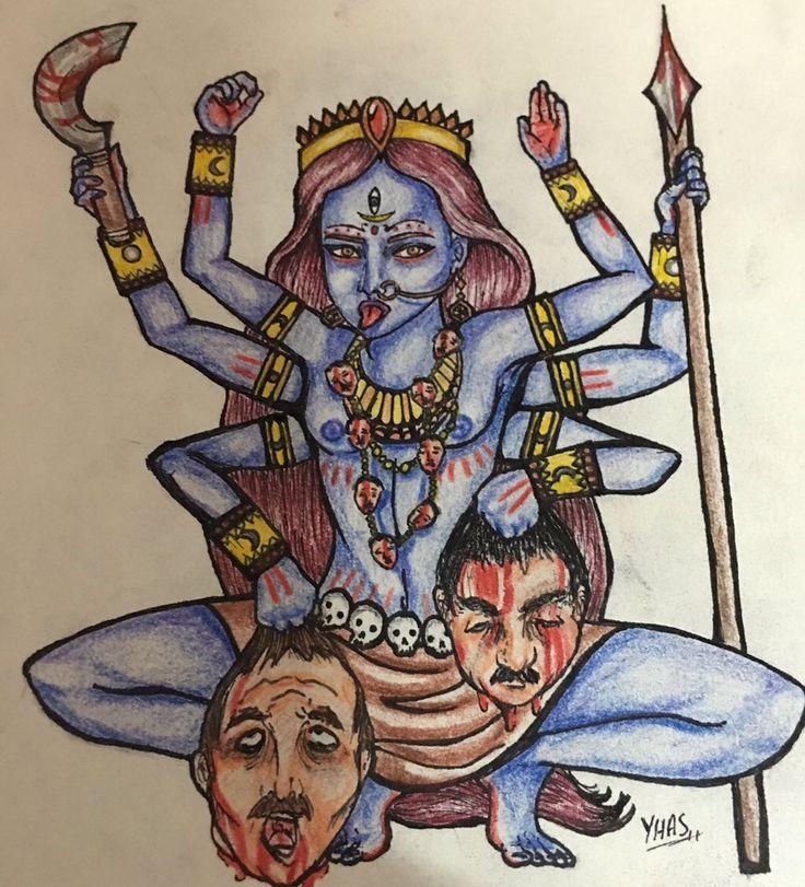 """""""Kali"""" Dibujo tradicional coloreado a lápices"""